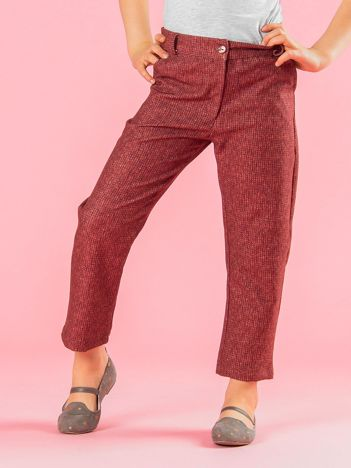 Ceglaste spodnie dziewczęce z dzianinowym nadrukiem