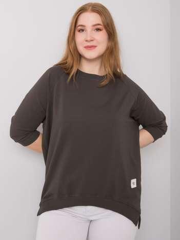 Ciemna khaki bawełniana bluza plus size Ninetta
