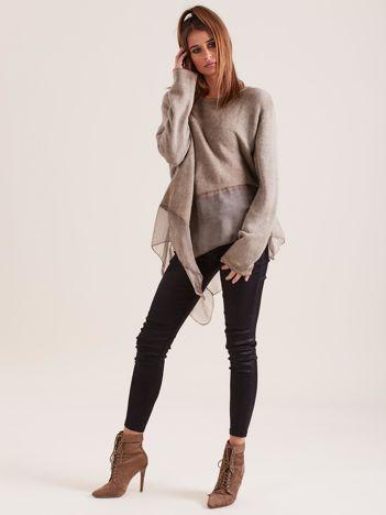 Ciemnobeżowa asymetryczna bluzka z metaliczną nicią