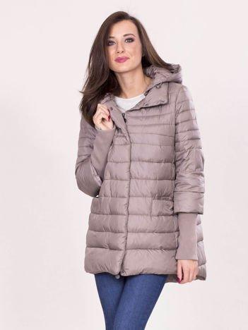 Ciemnobeżowa kurtka na zimę z kapturem
