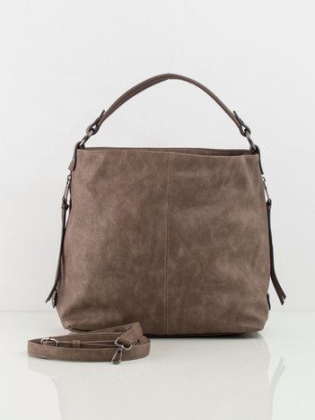 Ciemnobeżowa torba z ekoskóry