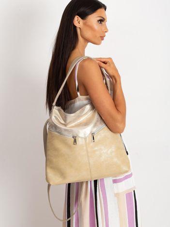 Ciemnobeżowa torba ze skóry ekologicznej