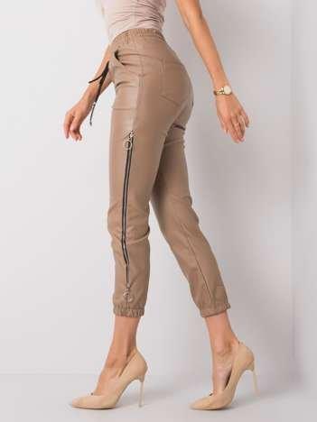 Ciemnobeżowe spodnie woskowane Jackie