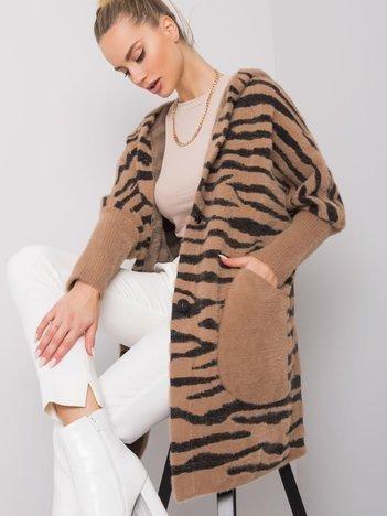 Ciemnobeżowy płaszcz alpaka Yvett
