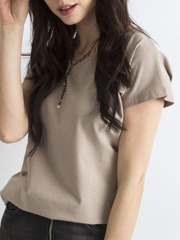 Ciemnobeżowy t-shirt basic