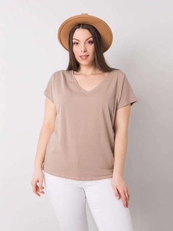 Ciemnobeżowy t-shirt w serek plus size Cassie