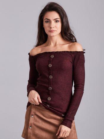 Ciemnobordowa prążkowana bluzka hiszpanka