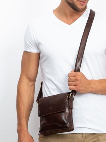 Ciemnobrązowa męska torba listonoszka