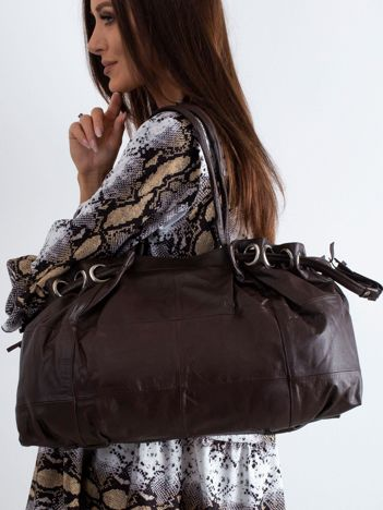 Ciemnobrązowa skórzana torba