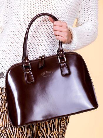 Ciemnobrązowa skórzana torba damska z odpinanym paskiem