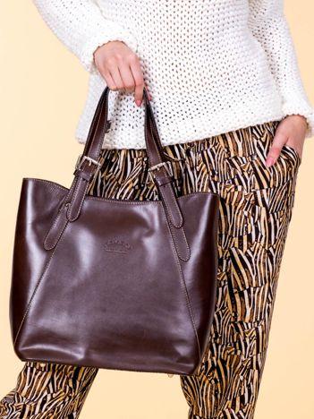 Ciemnobrązowa skórzana torba shopper bag