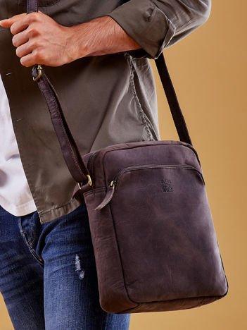 Ciemnobrązowa torba męska skórzana na ramię