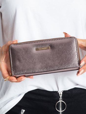 Ciemnobrązowy metaliczny portfel