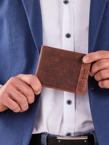 Ciemnobrązowy skórzany męski portfel