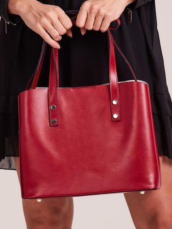 Ciemnoczerwona skórzana torebka do ręki z paskiem