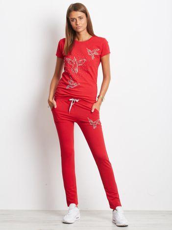 Ciemnoczerwony bawełniany komplet z perełkami i dżetami