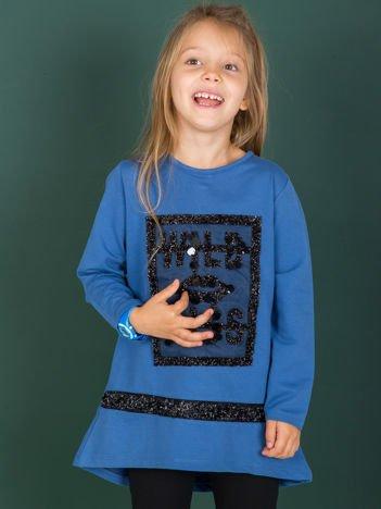 Ciemnoniebieska bawełniana tunika dziecięca z aplikacją