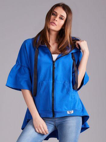 Ciemnoniebieska bluza dresowa z szerokimi rękawami
