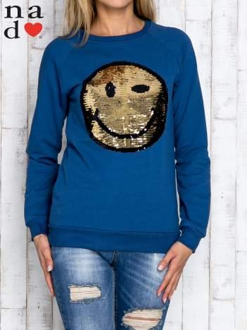 Ciemnoniebieska bluza z dwustronną naszywką z cekinów