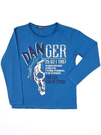 Ciemnoniebieska bluzka dla chłopca z nadrukiem
