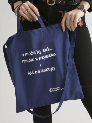 Ciemnoniebieska ekologiczna torba z napisem