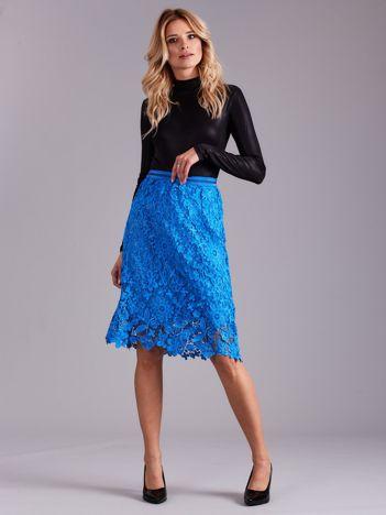 Ciemnoniebieska koronkowa spódnica
