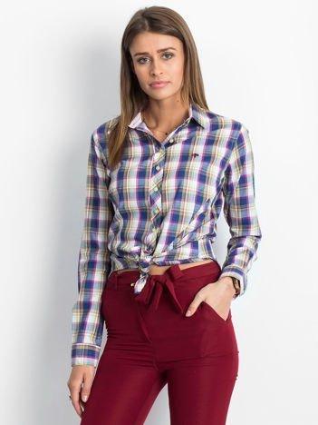 Ciemnoniebieska koszula damska w kolorową kratkę
