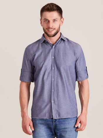 Ciemnoniebieska koszula męska o regularnym kroju