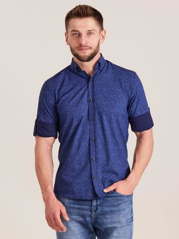 Ciemnoniebieska koszula męska we wzory