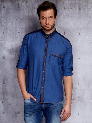 Ciemnoniebieska koszula męska z denimową listwą PLUS SIZE
