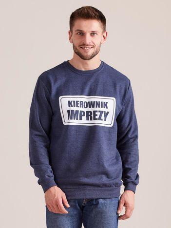 Ciemnoniebieska męska bluza dresowa z nadrukiem
