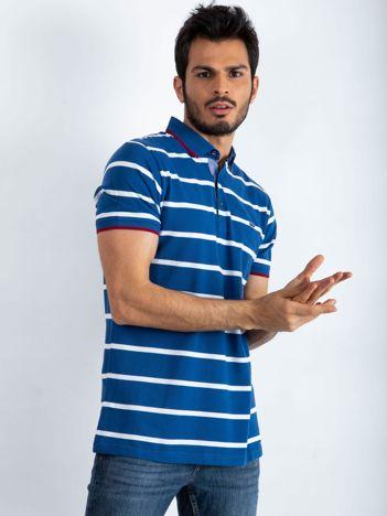 Ciemnoniebieska męska koszulka polo Throwback