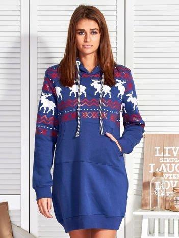 Ciemnoniebieska ocieplana sukienka w norweskie wzory