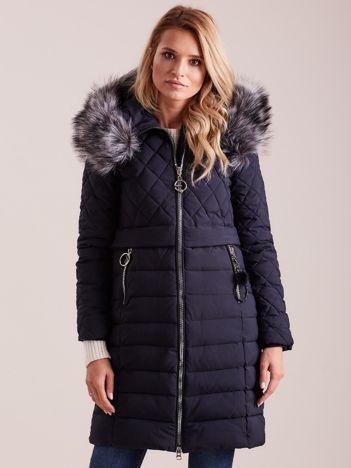 Ciemnoniebieska pikowana kurtka zimowa