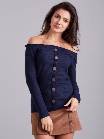 Ciemnoniebieska prążkowana bluzka hiszpanka
