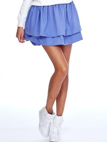 Ciemnoniebieska spódnica z warstwowymi falbanami