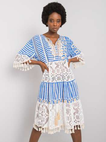 Ciemnoniebieska sukienka boho Nayeli