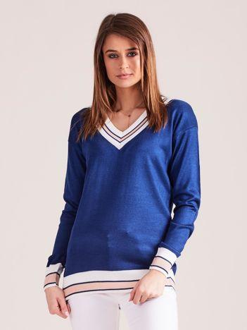 Ciemnoniebieski lekki sweter z dekoltem V-neck