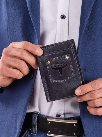 Ciemnoniebieski skórzany męski portfel