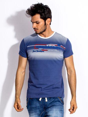 Ciemnoniebieski t-shirt męski z geometrycznym nadrukiem
