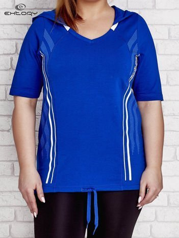 Ciemnoniebieski t-shirt z kapturem PLUS SIZE