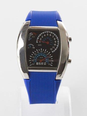 Ciemnoniebieski zegarek męski sportowy z datownikiem