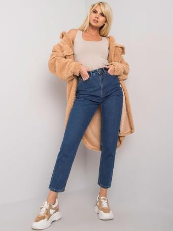 Ciemnoniebieskie mom jeans z wysokim stanem Trish