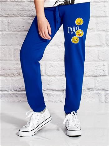 Ciemnoniebieskie spodnie dresowe dla dziewczynki z napisem CRAZY