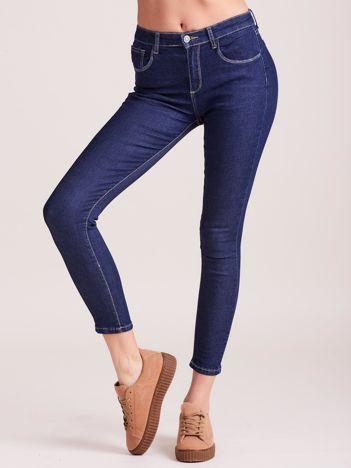 Ciemnoniebieskie spodnie jeansowe high waist