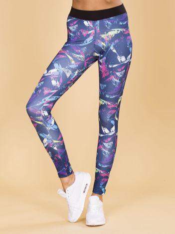 Ciemnoniebieskie wzorzyste legginsy