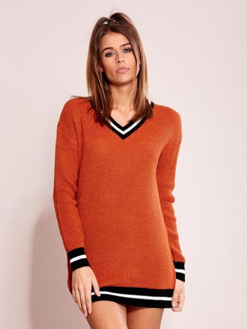 Ciemnopomarańczowy luźny sweter V-neck z kontrastowymi ściągaczami
