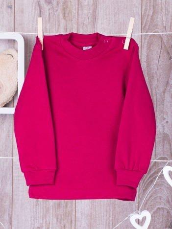 Ciemnoróżowa  bawełniana klasyczna bluzeczka niemowlęca z półgolfem  dla  dziewczynki
