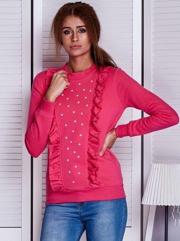 Ciemnoróżowa bluza z kolorowymi perełkami i falbankami