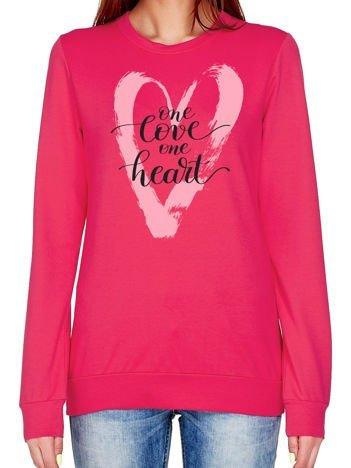 Ciemnoróżowa bluza z napisem ONE LOVE ONE HEART